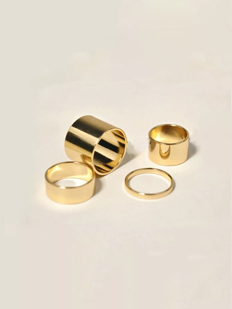 Gold Modern Cylinder Statement Rings Finger Rings Chic High image 0
