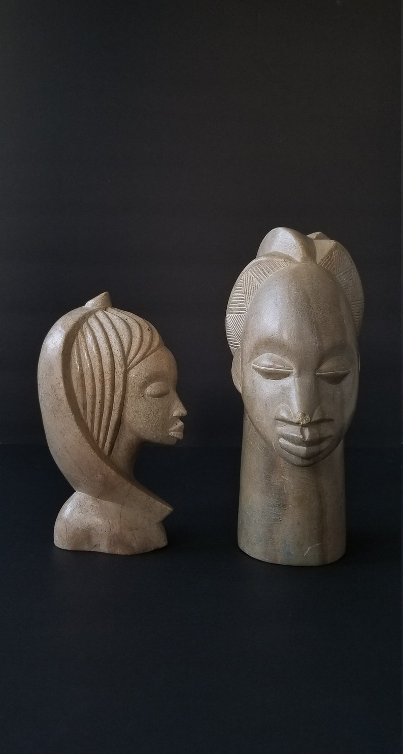 Hand-carved African Man and Woman Stone Statues image 0
