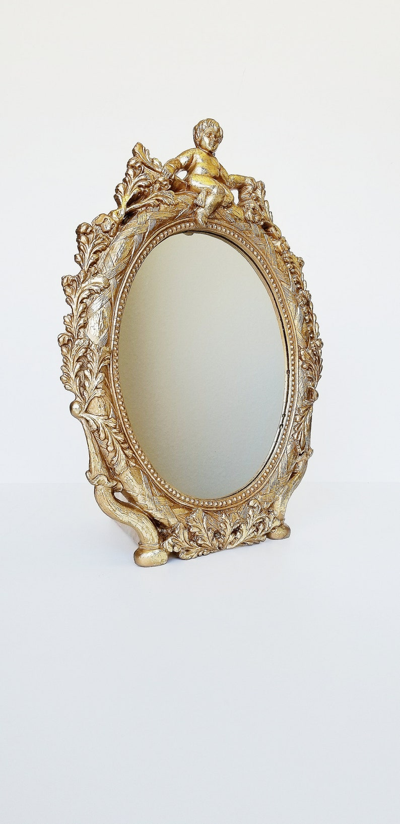 Gold Gilt Ornate Cherub Hollywood Regency Mirror Brass Gold image 0