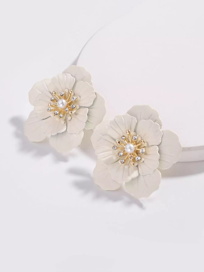 SOLD OUT White and Gold Rose Modern Garden Statement Earrings image 0