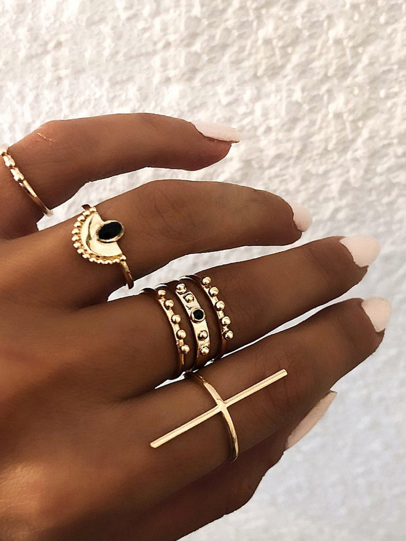 Gold Modern Cross Statement Ring Cube Ring Chic High End image 0