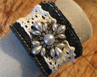 Recycled Denim & Lace Cuff