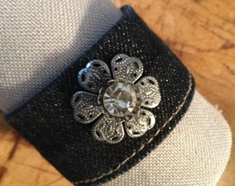 Recycled Denim  & Flower Cuff/Bracelet