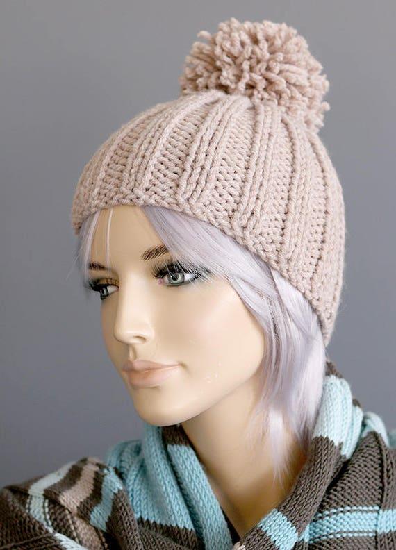 664c5a3fd9c Chunky Knit Pom Pom Hat Oatmeal Beige Bobble Hat Merino