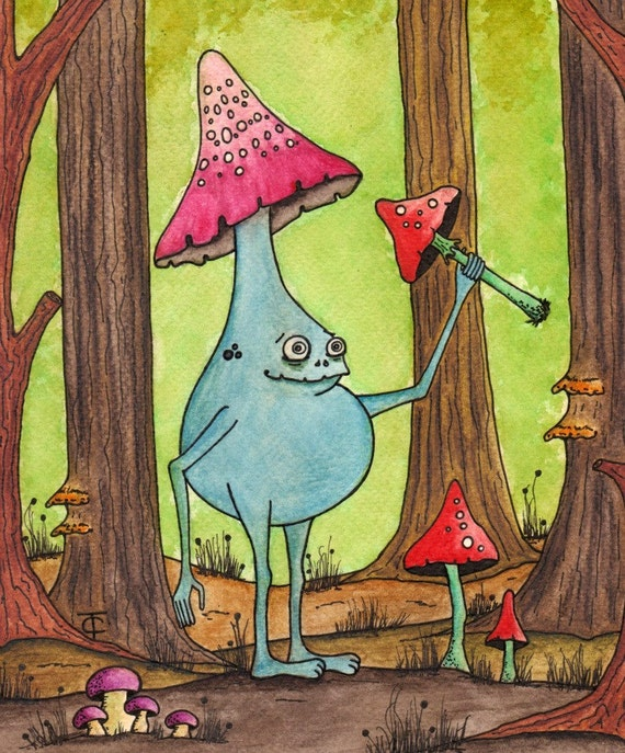 936317ad3522 Original Watercolor Ink Painting - Mushroom Painting - Fantasy Forest  Drawing - The Naughty Shroompling - Watercolor Illustration - OOAK