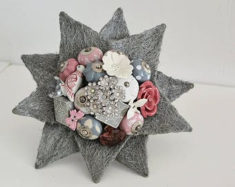 Ready Made Wedding Bouquet Star Doorknob & Brooch Keepsake Wedding Bouquet Alternative to flowers in grey and pink shades