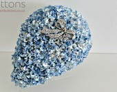 SALE - Wedding Bouquet made from Paper Flowers and Buttons in Blue and White Teardrop Flower and Brooch Bouquet - Bow Brooch Centre piece