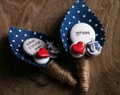 Rockabilly Heart and Anchor Groom / Best Little Man Buttonhole Boutonniere Wedding Page boy