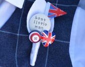 Page Boy / Best Little Man Personalised Wedding Buttonhole - Rule Britannia London UK British Flag Design