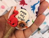 Colourful Dinosaur Boys Wedding Buttonhole Boutonniere Cute Keepsake Gift for your Page Boy or Best Little Man