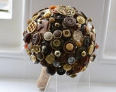 SALE - Rustic Brown Vintage Button Bouquet finished with Gold tones and Twine