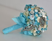 Beach Shell Wedding Button and Brooch Teardrop Bouquet with Vintage Buttons, One of a Kind Gorgeous Wedding Keepsake Bouquet
