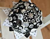 "SALE ! Quirky ""Spots & Stripes"" Button and Brooch Wedding Bouquet in Black / White"