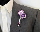 Purple Mix Paper Flower Button Buttonhole / Boutonnière for an Alternative Wedding Groom and Best Man