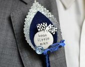 Page Boy / Best Little Man Personalised Wedding Buttonhole - Racing Car F1 Rally Car Wedding Chequered Flag