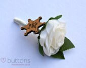 Best Little Man or Page Boy Wooden Sheriff Badge with Real Touch Rose Flower Wedding Keepsake Buttonhole Boutonniere