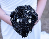 Wedding Bouquet in Black Gothic Style Victorian with silver vintage ballerinas Perfect for the Alternative Bride