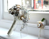 Wedding Bouquet Teardrop Button and Brooch Bouquet with Brooch. A perfect keepsake bouquet alternative to flowers