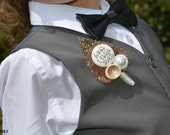 Copper Glitter Childrens Buttonholes Best Little Man / Page Boy Buttonhole Boutonniere Wedding