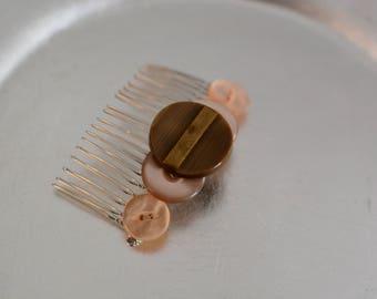 Handmade Vintage Art Deco Button Hair Comb Brown / Apricot