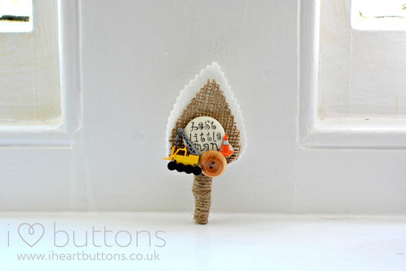 Rustic Design with Crane and Work Cone Page Boy  Best Little Man Personalised Wedding Buttonhole