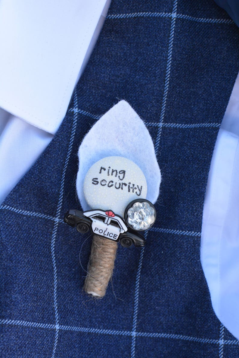 Ring Security Buttonhole Police Car Buttonhole Boutonniere Wedding Best Little Man Page Boy