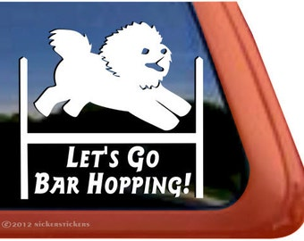 Captivant DC558BAR | High Quality Adhesive Vinyl Bichon Frise Dog Window Decal Sticker