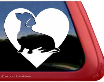 Dachshund Heart | DC337HRT | High Quality Adhesive Vinyl Window Decal Sticker