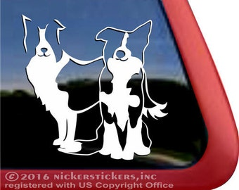 Pair of Border Collies  | DC137PL | High Quality Adhesive Vinyl Window Decal Sticker