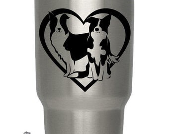 Border Collies Heart Decal for Yeti Cup | DC137HRT-B | High Quality Border Collie Window Decal Sticker