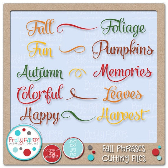 Fall Phrases Cutting Files Clip Art Instant Download Etsy