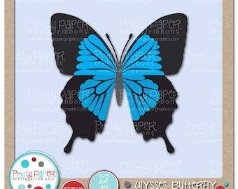 Ulysses Butterfly Cutting Files & Clip Art - Instant Download