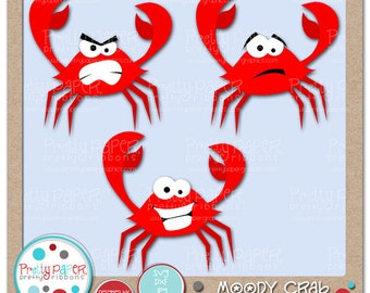 Moody Crab Cutting Files & Clip Art - Instant Download