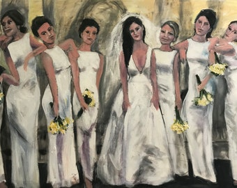SOLD Bridal Party With Attitude  24 x 36  Original Oil Painting by Marlene  Kurland  SOLD