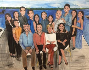 Beautiful Family Memories at Their Treasured Camp  in Maine Original Oil Painting by Marlene Kurland  36 x 48 SOLD