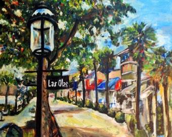 Sold Las Olas Blvd Ft Lauderdale, FL. Beach, shopping scene, COlorful shopping scene in Florida by Marlene Kurland