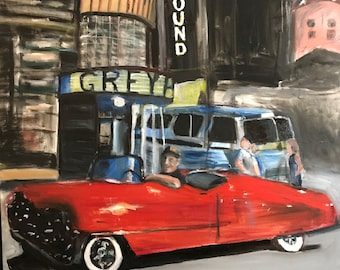 SOLD Greyhound Bus Station  by Marlene Kurland   30 x 40