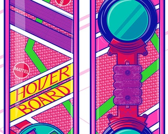Retro 1980's Back to the Future 2 Hover Board Fine Art Print / Geekery / Retro Movie Poster / Fan Art