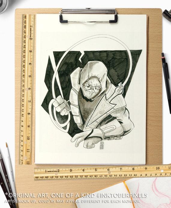scorpion art sketch mortal kombat 11