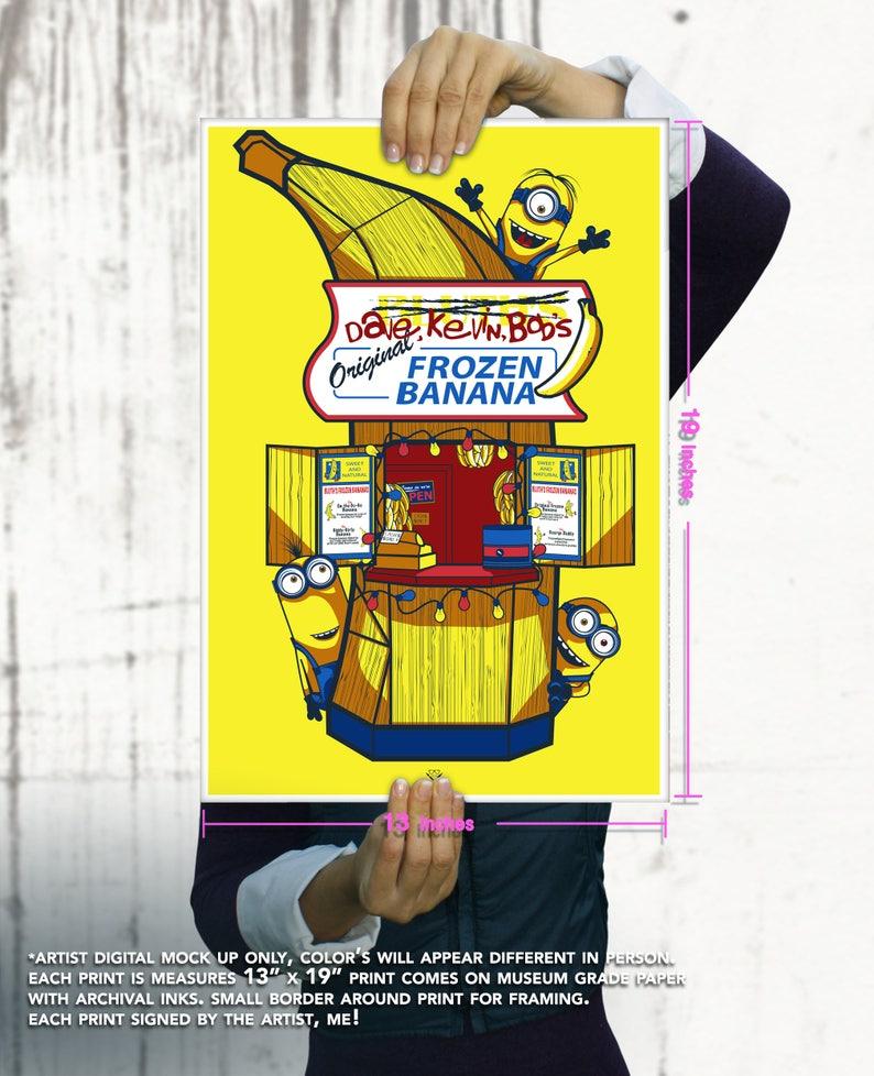 Minions Banana Stand Giclee Art Print / Fine Art / Geekery / image 0