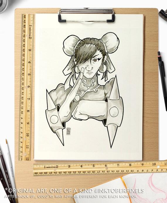 Inktober Original Art Day 15 Chun Li Street Fighter 2 Inktoberpixels Pen And Ink Drawing On Bristol Board