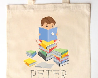 746067f19aa2 Boy Reading Library Tote for Kids - Custom Printed Library Book Bag -  Children s Tote Bag - little boy reader library tote book bag