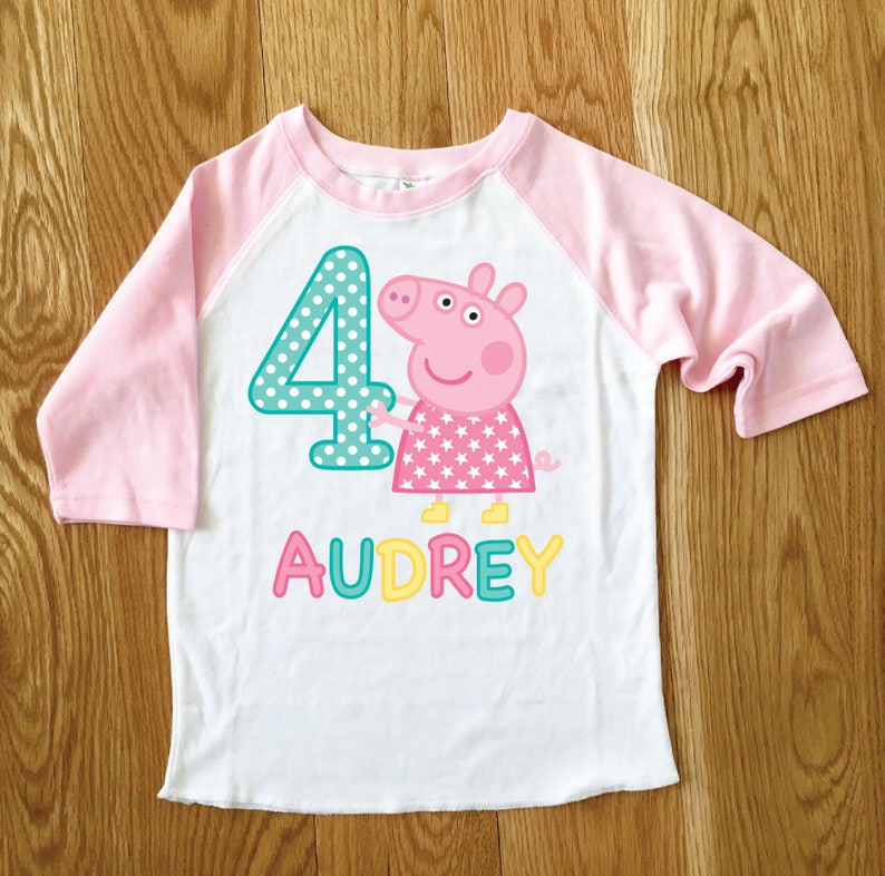 Peppa Pig Girls Birthday Tee 2nd 3rd 4th Baseball