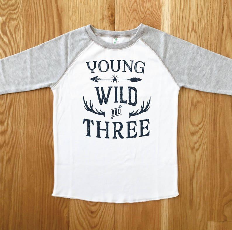 Young Wild THREE Boys Birthday Tee 3RD Baseball