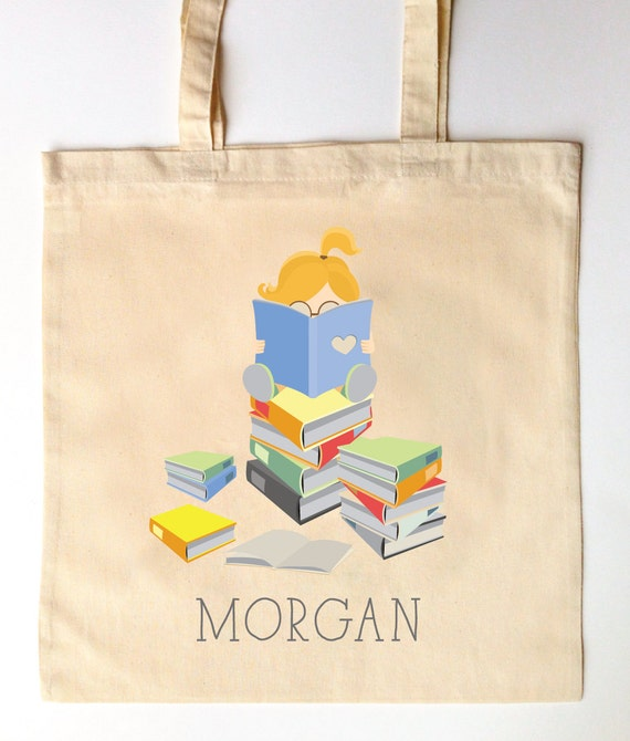Cotton Tote Bag can be personalised Book Worm Canvas