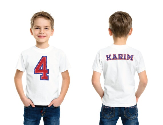 Sporty Letter Jacket Birthday Tee 4 Year Old