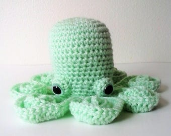 Amigurumi Octopus - Mint Green Octopus with Safety Eyes