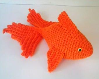 Amigurumi Goldfish - Crochet Koi Fish - Bright Orange Fantail Fish with Safety Eyes