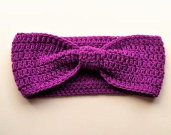 Crochet Bow Headwrap - Bow Headband - Turban Headband - Ear Warmer - Berry Jam