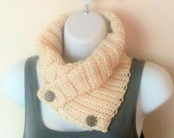 Neck Warmer Scarf - Buttoned Cowl - Buttoned Cowl Scarflette - Ribbed Knit Cowl - Textured Buttoned Scarf - Cream - Winter White